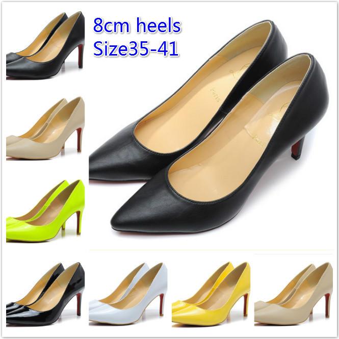 Designer 6 Colors 8 cm Red Bottom High Heels Pumps 2014 Women Close Toe High Heel Genuine Leather Pumps Wedding Shoes(China (Mainland))
