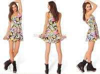 Free shipping 2014 summer new Women Sexy Adventure Time stamp print Sleeveless Pleated Mini Dress