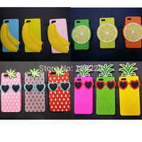 Free shipping,2014 new 3D silicon fresh banana lemon fruit cellphone case for apple iphone 4 4s 5 5s case