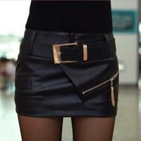 2014 new winter women's personality joker PU leather zipper decoration culottes shorts leather skirt female