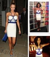 New Sexy Halter Blue&White Bandage Dress Celebrity Dresses Fashion 2014 Sleeveless Knitted Bodycon Elegant Party Evening Dress
