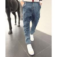 Men Famous Brand Design Low Drop Crotch Denim Jeans Harem Hip Hop Long Pants Slack Baggy  Pants Stretch Trousers Size 28-33