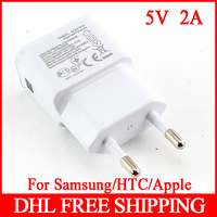 100Pcs/Lot EU Plug 100-240V 2 Dual USB Ports Home Travel Wall AC Power Charger Adapter For Samsung Galaxy S4 S5 Table PC Mp3 Mp4