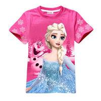 Free Shipping  Baby Girl Kid Princess Frozen Queen Elsa Snowman ShortSleeve T-Shirt Top Clothes