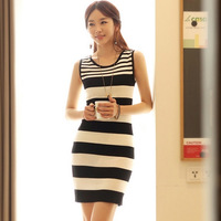 Hot Sale Women Bodycon Dress Summer New Fashion In 2014 Korean Style Striped Work Wear Casual Knit Short Dresses Free Shipping