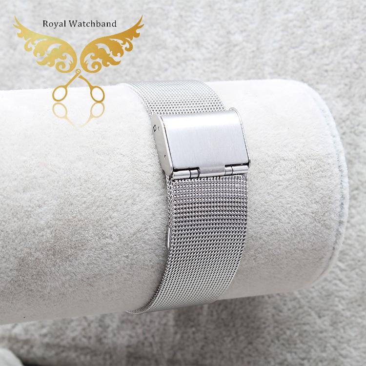 novo terminal 12mm de largura 14mm 16mm e 18mm 20mm 22mm 24mm prata aço inoxidável assistir assista banda malha de pulseira pulseira fecho de bloqueio flip(China (Mainland))