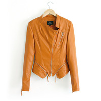 Spring and Autumn 2014 new women casual jacket washed leather coat double zipper leather jacket women clothing outerwear