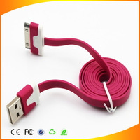1pcs/lot 30 pin New Arrival colorful flat noodle usb sync and charge cable for iphone 4 4s 3gs for ipad 2 3