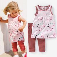 2014 new hot girls brand clothing children summer clothes set dress+pants children clothing set children girls clothes 5sets/lot