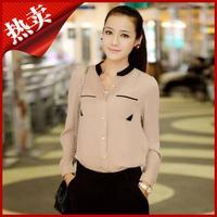 New 2014 Fashion OL stand collar shirt chiffon shirt female long-sleeve shirt blouses DF-046