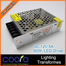 12V 5A 60W 110V-220V Lighting Transformers high quality safe Driver for LED strip 3528 5050 power supply(China (Mainland))