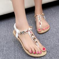 2014 Summer sandals bohemian super comfortable elastic band thick-soled floral flip women