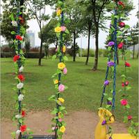 7 Colors 250cm High artificial rose flower wisteria wedding decoration flower vine fake silk flower AH6523