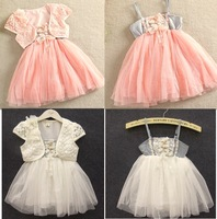 Free Shipping ems/dhl toddler girls casual lace two-piece dress princess costume children pink color dresses girls party dress