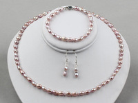 Nice 5-6mm Purple Natural Freshwater Pearls Necklace, Bracelet and Earrings Set