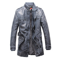 2014 New Winter Men'S Leather Coat Man Long Paragraph Slim Fit Wear White Washed Leather Jacket Men Leather Clothing XG-76