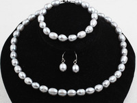 Nice 9-10mm Grey Natural Freshwater Pearls Necklace, Bracelet and Earrings Set