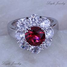 Women Fondle admiringly Red Ruby CZ Diamond Ring, Silver / Platinum Plated Wedding Rings J0277