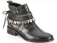 2014 new fashion genuine Leather Studded-Fringe Welt women Ankle Boots P16
