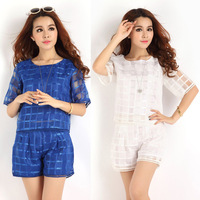 Women Blue/White Pocelain Summer Suits(top+shorts) Europe Office Ladies Evening Party Formal Short sleeve Shirts+Short Pants*J66