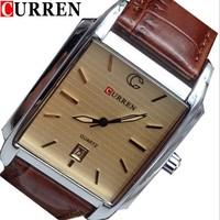 CURREN 8097 Men Leather Strap Brand Analog Quartz Dress Watch with Calendar (browm)