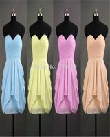 2014 simple ruffles Blue Homecoming Dresses Prom gowns sweetheart zipper Short Mini dresses custom