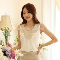 New 2014 Fashion Elegant Diamond Crochet Lace Sleeveless Pleated Chiffon Top, Summer Office Blouses Plus size S-XXXL 036