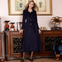 2014 autumn and winter women fashion woolen outerwear turn-down collar single breasted slim woolen overcoat
