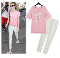 2014 summer fashion short-sleeve T-shirt chiffon trousers twinset casual summer set female