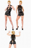 Plus Size XXL XL L M S 2014 Hot Selling Sexy Gothic Punk Wetlook Jumpsuit Latex Short Overall Costume Black Open Crotch Catsuit