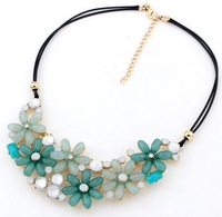 2014 new arrival hot selling female jewelry beads women's necklace alloy necklace candy color bohemia sweet flower necklace