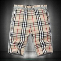 M-5XL Khaki Navy Plaid 2014 New fashion summer brand designer mens sport surf high-quality swimming Cotton shorts beach pants