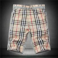 M-5XL Khaki Navy Plaid 2014 New fashion summer brand designer mens sport surf high-quality swimming Cotton shorts beach wear