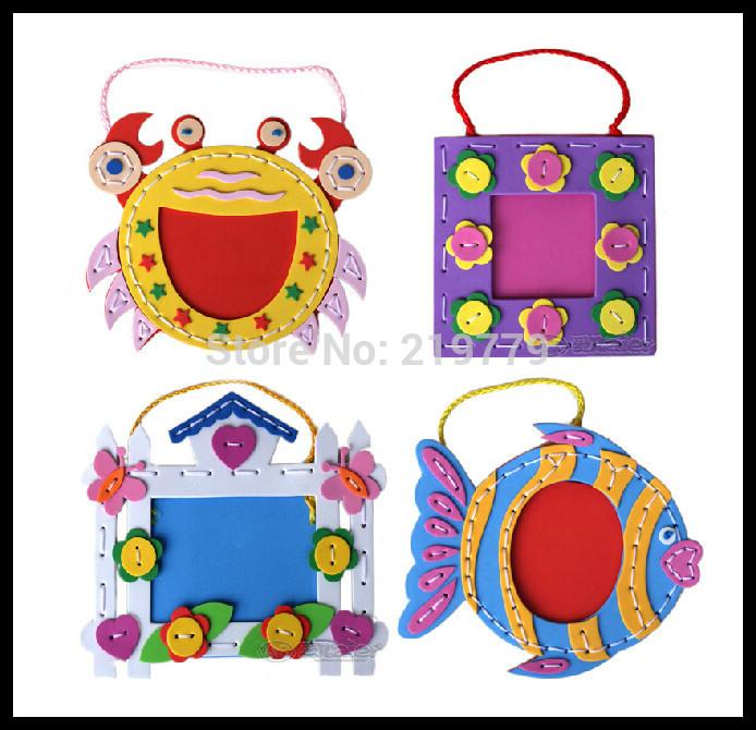 Kids DIY handmade photo frame eva foam crafts kits Early Educational Toys for Kindergarden baby(China (Mainland))