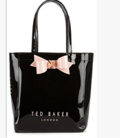 Hot sell  TED New Arrival lovely pink bow pvc tote lady fashion london  shopper  bag wholesale drop shipping free shipping