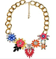 2014 new arrival Major suit colorful retro ceramic flower exaggerated thick chain alloy stones necklace female necklace