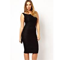 2014 summer plus size clothing one-piece dress fashion sleeveless slim basic  female 6368