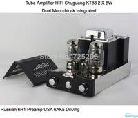 Tube Amplifier HIFI Shuguang KT88 2 X 8W Dual Mono-block Integrated  Russian 6H1 Preamp USA 6AK5 Driving amplifier