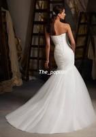 New style Fashion Mermaid/Trumpet Sweetheart Sleeveless  Floor length Sweep/Brush Fold Wedding Dresses Custom