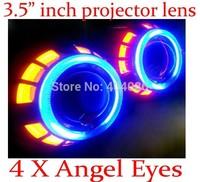 "3.5"" inch H4 H1 H7 9004 9005 9006 9007 Bi Xenon Headlight HID Projector Lens Double Angel Eyes kits 4300K 6000K 8000K 10000K"
