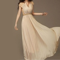 Ladies Long l Evening Party Chiffon Lace Maxi Vintage Dress