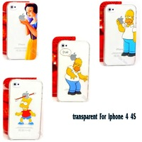 1PC Logo Clear Cover Fit For Apple iphone 4/4S 4G Case Homer Simpsons Simpson Gasp Princess Snow White Elsa Anna Shell Cases