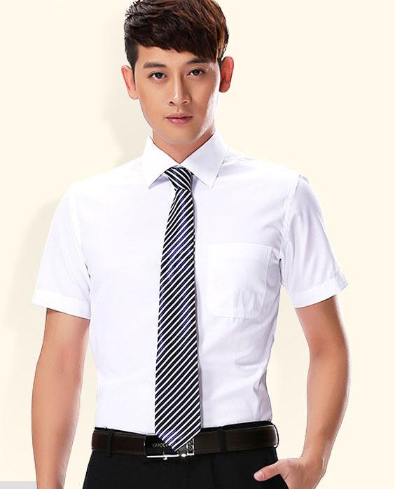 men dress shirt brand new 2014 summer short sleeve solid white black color fashion Business shirts(China (Mainland))
