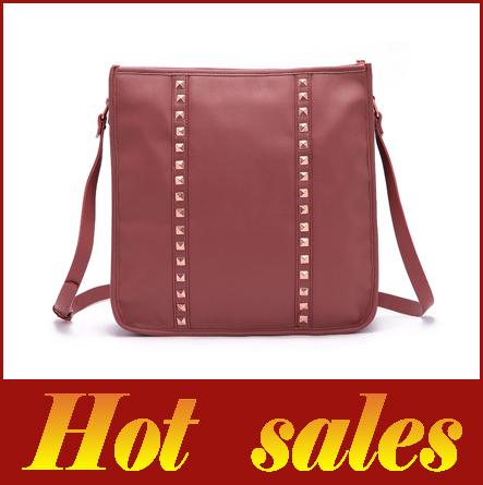 hot 2014 new retro big brown bag handbag rivet high quality women's casual shoulder bag Messenger bag woman bag(China (Mainland))