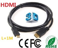 Free shipping  1M High quality  mini hdmi to hdmi cable, Full HD 1080P wholesale 20pcs/lots