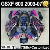 &Fairings  GSXF600 For SUZUKI KATANA rose black  K6A193 GSX600F 03 04 05 06 07 GSXF 600 2003 2004 2005 Pink flames 2006 2007