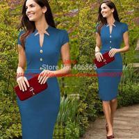 2014 Women Fashion V-Neck Short Sleeve Button Empire Waist Slim Wiggle Pencil Bodycon Casual Dress