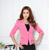 Plus Size Candy Color 2014 New Slim Half Sleeve Elegant Women's Work Wear Blazers Professional Business Coat Jacket Work Wear