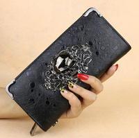 Fashion long hand bag zipper wallet restoring ancient ways punk skulls new ghost lady wallet women wallet