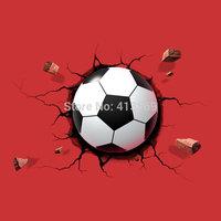 Wholesale 3D Soccer Light Football Deco Wall LED Night Light Crack Sticker Kids/Sports Room Decor